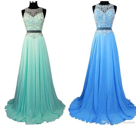 Blue Gradient Dress gradient ombre prom dresses sheer crew light pink blue green chiffon 2016 two pieces