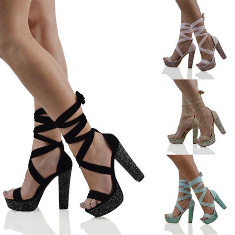 Glitter High Heel Sandals womens lace up ankle tie block glitter high heel