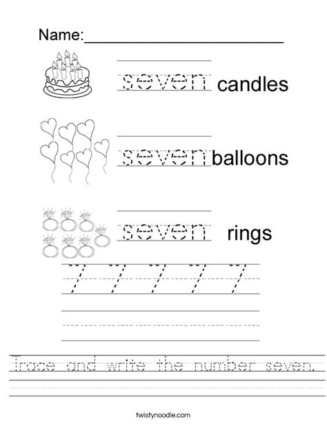 number 7 worksheets trace and write the number seven worksheet twisty noodle