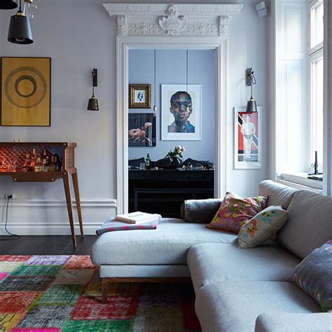 eclectic living rooms eclectic living room with grey sofa decorating ideal home