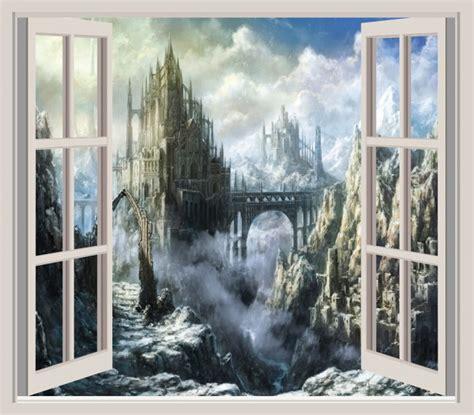 fantasy castle  window wall sticker