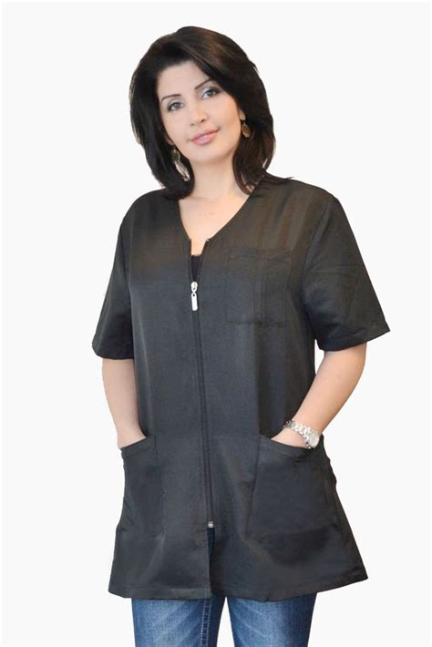 zippered hair cutting smock in can stylist zipper jacket black salon aprons capes