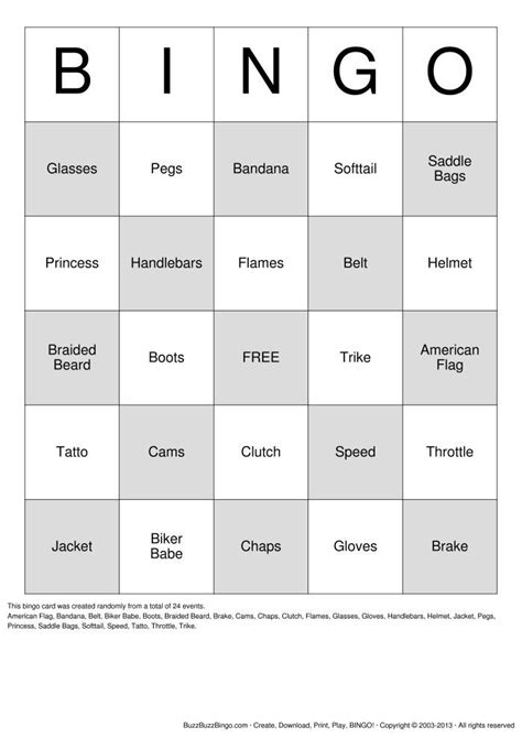 printable housewarming bingo cards biker bingo card harley events parties pinterest bikers