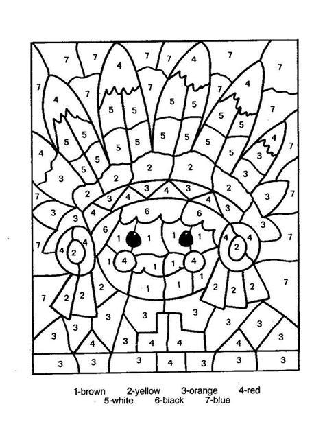 thanksgiving coloring pages color by number cijferkleurplaat engels indi 225 ni indians pinterest
