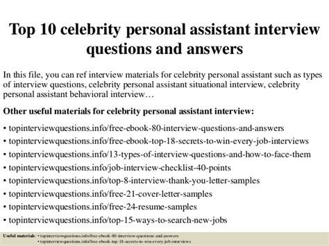 top 10 personal assistant questions