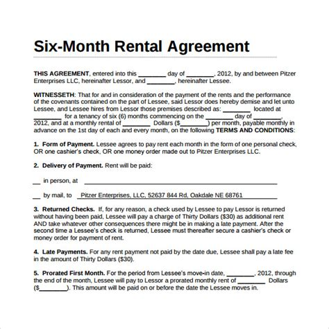 12 month lease agreement template simple rental agreement 11 free documents in