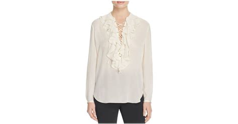 Riana Ring Blouse theory rianala silk ruffle blouse in white ivory lyst