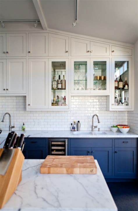 Colorful Kitchen Cabinets Go Halfsies In Your Kitchen With Bi Colored Cabinets