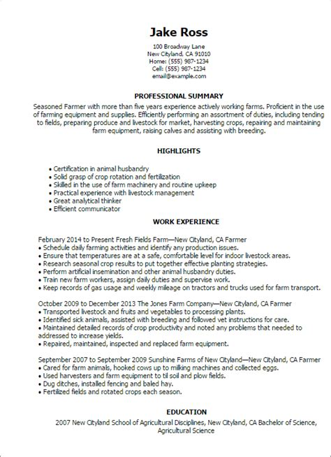 Resume Sample Objective Summary by Professional Farmer Templates To Showcase Your Talent