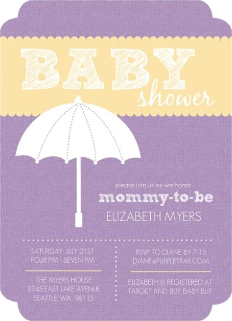 Yellow And Purple Baby Shower by Purple And Yellow Umbrella Baby Shower Invite