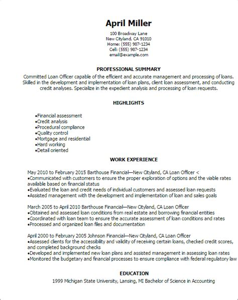 Mortgage Loan Officer Resume by Professional Loan Officer Resume Templates To Showcase