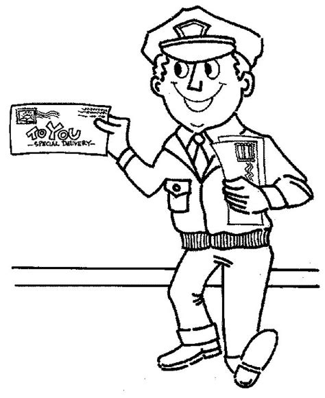community helpers coloring pages mr postman is smiling in community helpers coloring page