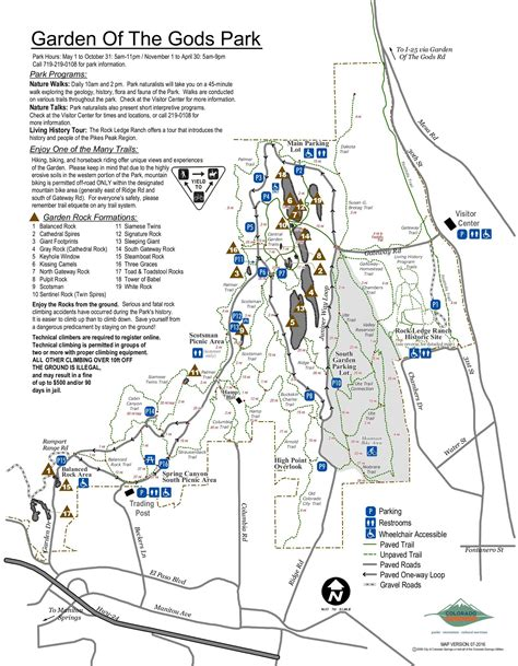 garden of the gods map garden of the gods park visit colorado springs