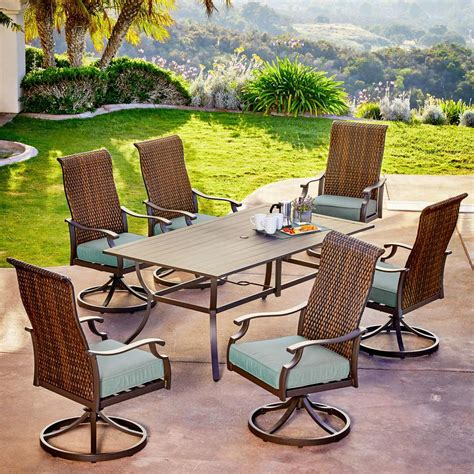hampton bay corranade  piece wicker outdoor dining set
