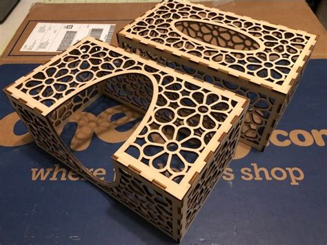 laser cut tissue box mm birch plywood dxf file