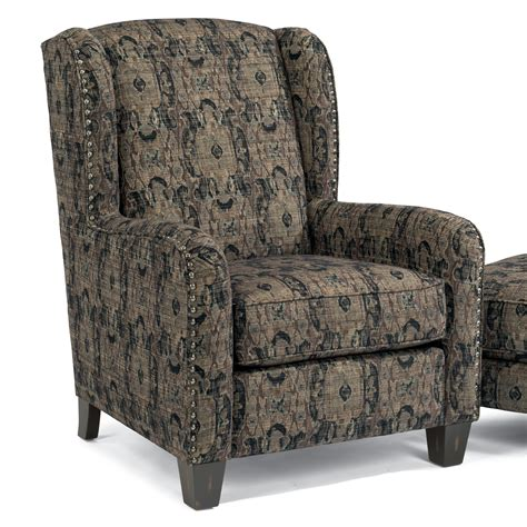ottomans perth flexsteel accents 0112 10 perth wing chair with nailhead