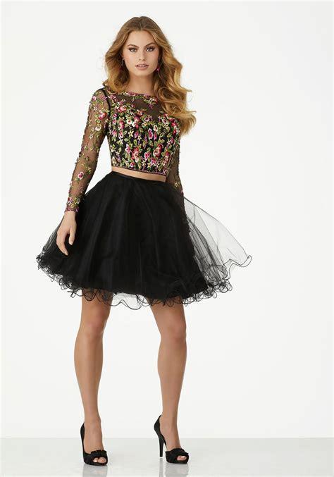 morilee  sheer long sleeve short pc short dress