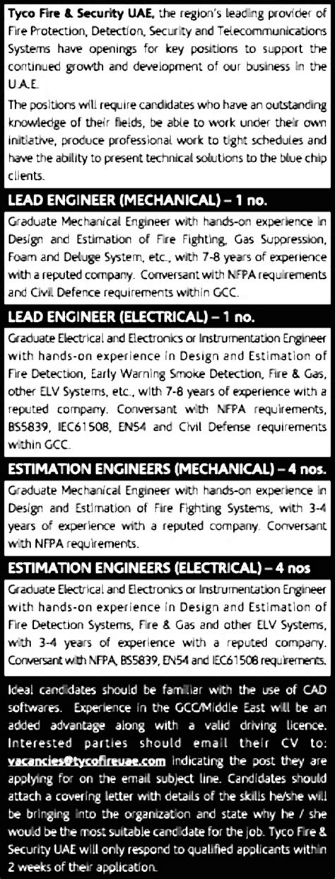 fire fighting design engineer job description jobs in tyco fire and security vacancies in tyco fire and