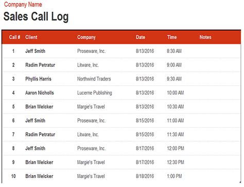 Sales Call Log Template Excel by Business Office