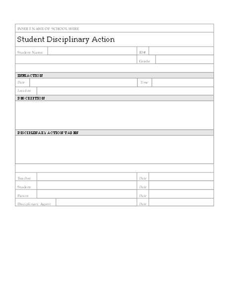 Student Disciplinary Action Form Disciplinary Forms Free Template