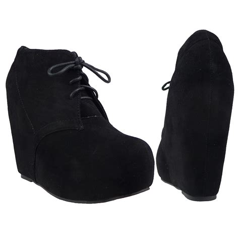 womens ankle boots platform high heel wedge