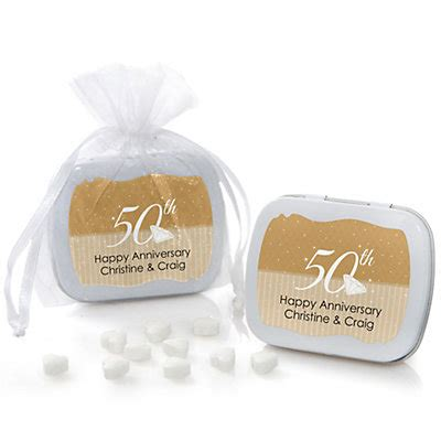 50th Wedding Anniversary Giveaways - 50th anniversary personalized wedding anniversary mint tin favors