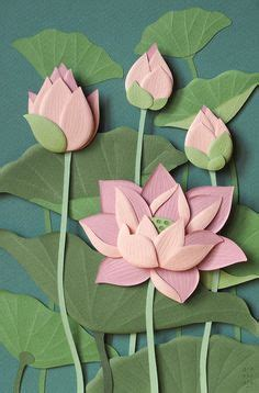 lotus flower paper craft beautiful asian inspired paper витрина