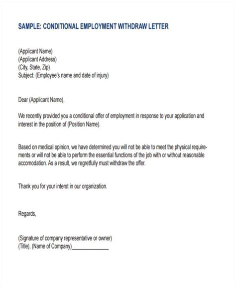 Offer Withdrawal Letter Format 8 employment offer letter templates free sles