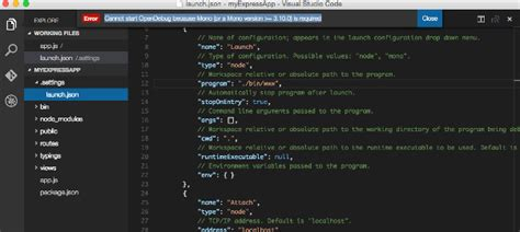 node js tutorial visual studio code cannot start opendebug because mono or a mono version