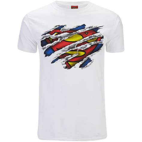 Tshirt Supermen White dc comics s superman torn logo t shirt white