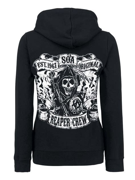 Sweater Reaper Logo Back sons of anarchy soa reaper crew logo zip hoodie black sweater hoodies cardigans