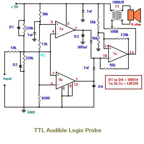 probe circuit diagram audible logic probe electronic circuits diagram