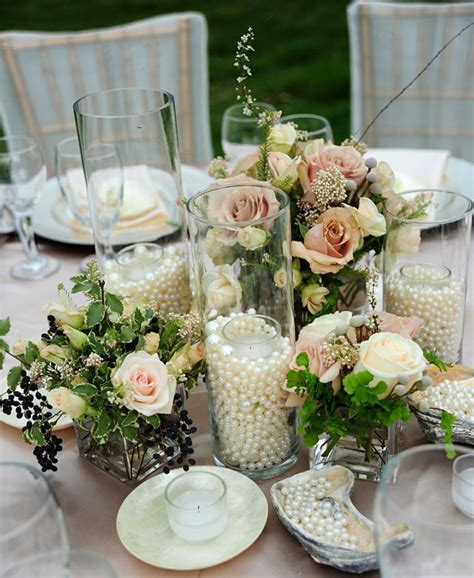 diy pearl and candle centerpieces mon cheri bridals