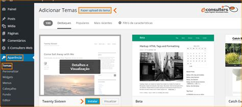 como instalar layout no wordpress como instalar um tema no wordpress e consulters web
