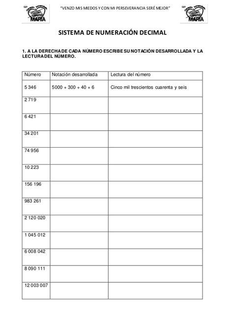 ejercicios de valor posicional para imprimir 4 to ejercicios sistema de numeraci 243 n