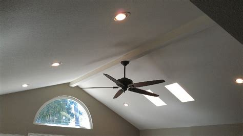 ceiling fan and 6inch can lights on vaulted ceiling
