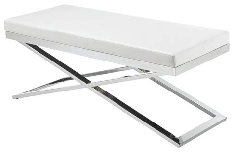 white bedroom bench x base bench white contemporary upholstered benches by inmod