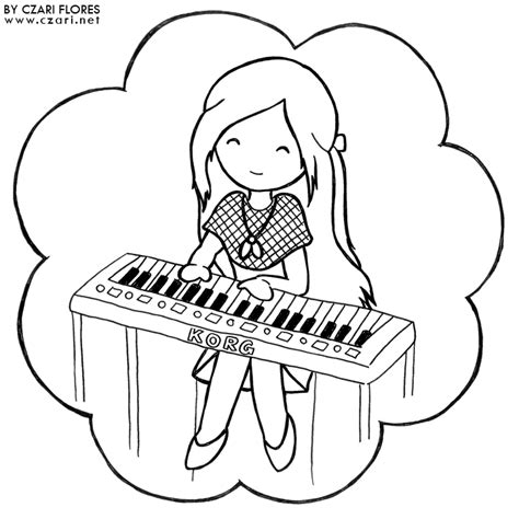 Anime girl piano piano colouring pages