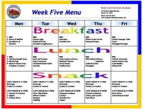 Preschool Menu Template by Sle School Menus Noah S Ark Christian Academy