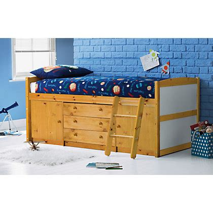 Pine Mid Sleeper Bed by Pine Mid Sleeper Bed With Buddy Mattress