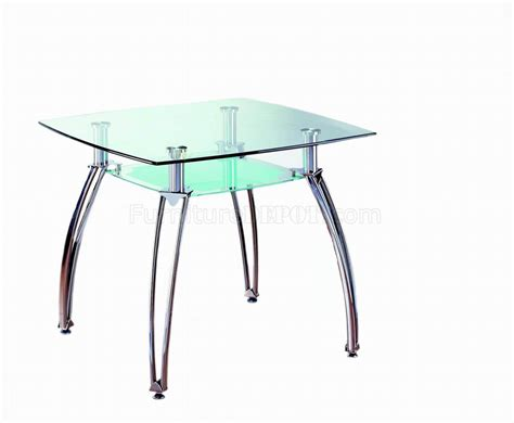 glass top metal base modern square dining table w shelf