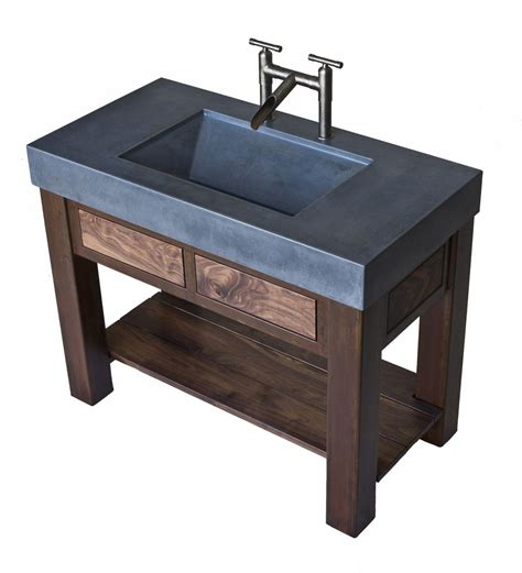 hand crafted steel and walnut vanity with integral concrete sink by elements concrete