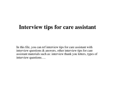 tips for care assistant