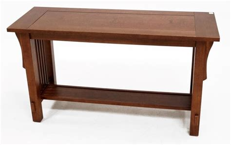 arts crafts oak console table height 27 quot top 17 x 48 quot