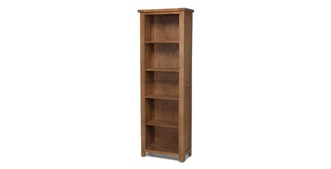 slim bookshelves rustic oak slim bookcase lifestyle furniture uk