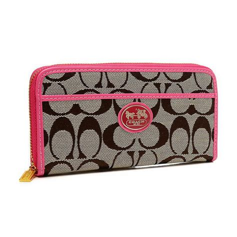 Coach Signature Pink Large new arrival coach legacy accordion zip in signature large pink wallets euw clearance