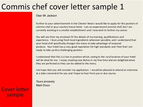 chief cover letter commis chef cover letter
