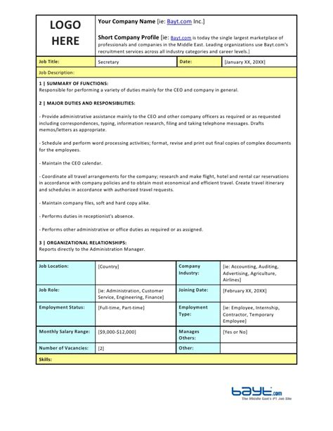 corporate roles and responsibilities template description template by bayt