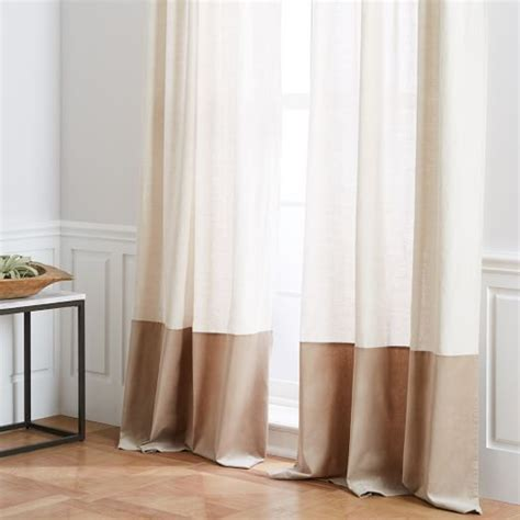 natural coloured curtains belgian flax linen velvet colorblock curtain natural