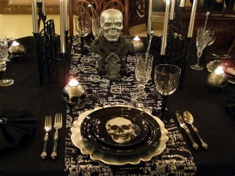 Skull Decorations For The Home Tablescape With A Ghostly Centerpiece